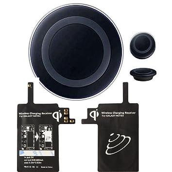 Sannysis® Qi Wireless cargador Pad con receptor para Samsung Galaxy Note 4 (Negro)