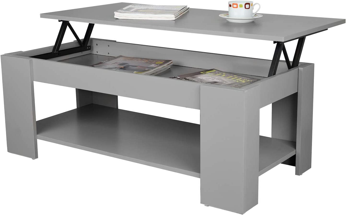 Espresso New Kimberly Lift Up Top Coffee Table with Hidden Storage /& Shelf