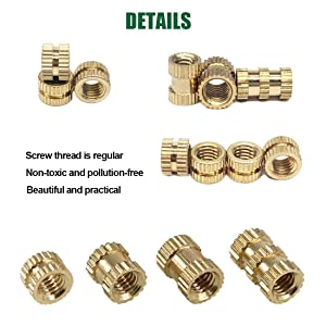 Keadic 370PCS M2 M3 M4 M5 Female Thread Knurled Nut Brass Threaded Insert Embedment Nuts Assortment Kit