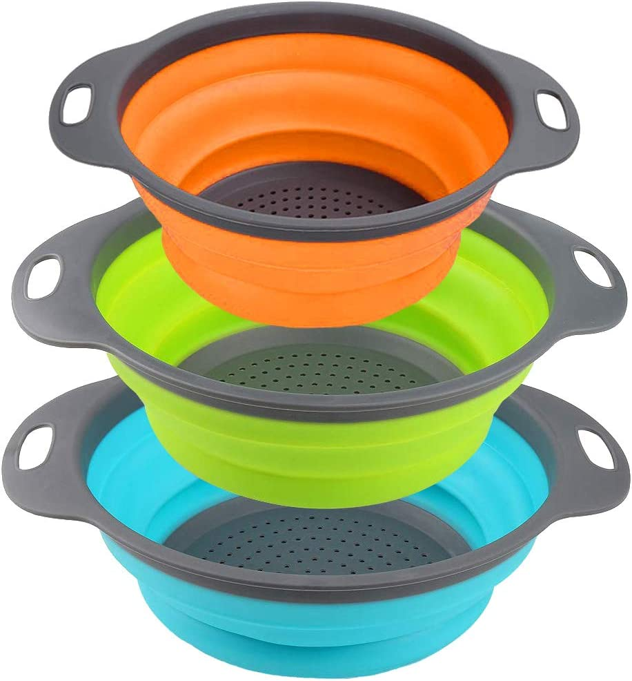 Kitchen Collapsible Colander Set of 3, HJYuan Silicone Colander Strainer Over the Sink Food Folding Water Filter Basket with Handles for Draining Pasta, Vegetable and Fruit (Green, Blue, Orange)