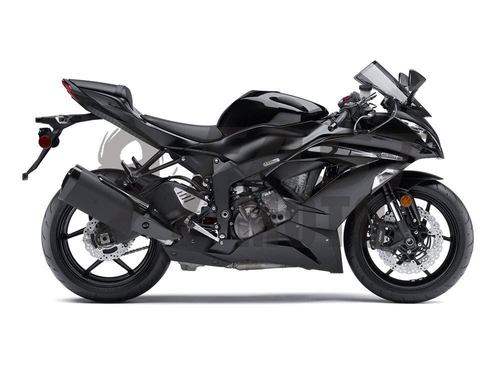 9FastMoto Motorcycle Decals Sticker for kawasaki 2013 2014 2015 2016 ZX6R ZX-6R Ninja 636 Motorbike Racing Fairing Decal (Black & Silver)