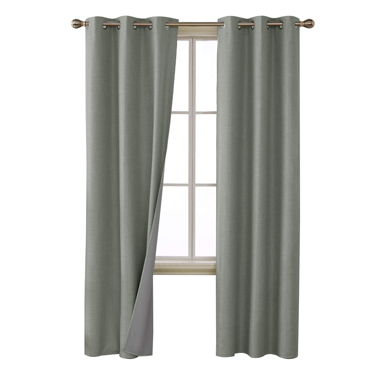 Deconovo 100 Percent Blackout Curtains with 3 Pass Energy Efficient Thermal Insulated Coating Faux Linen Room Darkening Grommet Curtains for Nursery 38 x 84 Inch Long Set of 2 Panels Light Gray