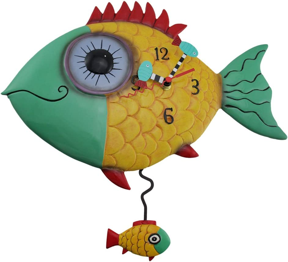 Allen Designs Wide Eyed Fishy Pendulum Wall Clock Fish