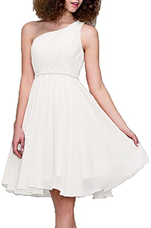 99Gown Bridesmaid Dresses Short Cocktail Dress One Shoulder Prom Formal Dresses For Women, Color Ivory