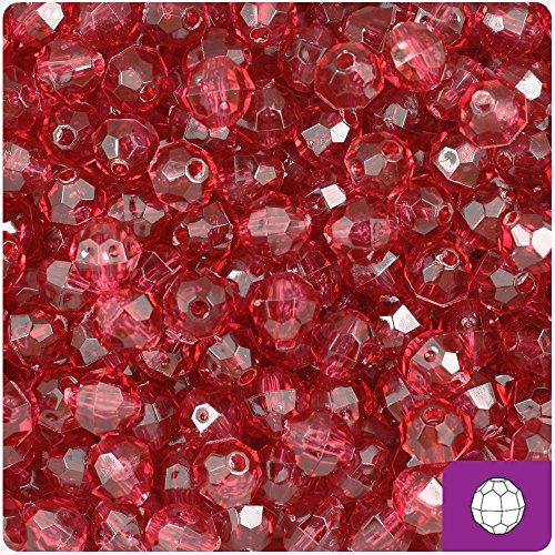 Mauve Beads Transparent (BeadTin Fuchsia Mauve Transparent 8mm Faceted Round Craft Beads (450pc))