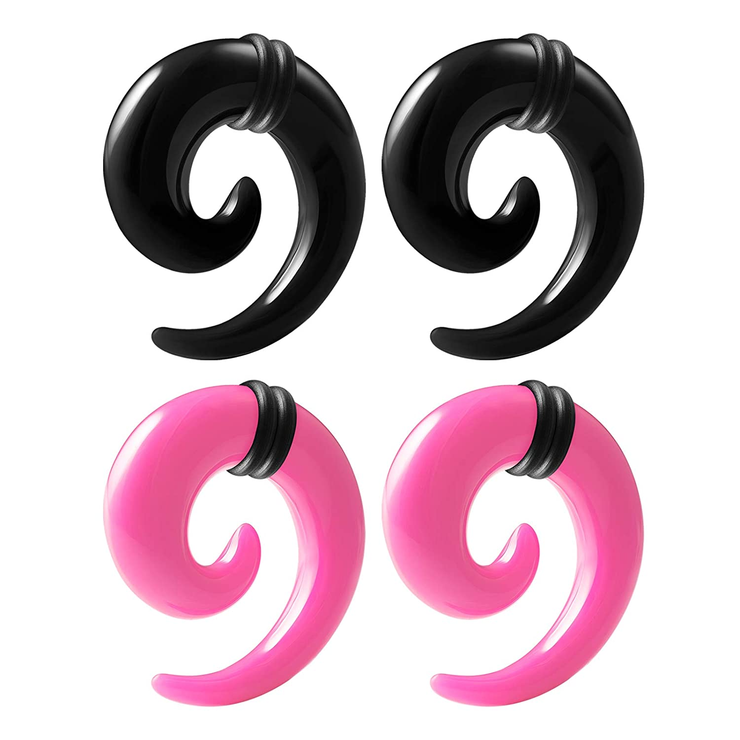 PAIR-Tapers Spiral Black//Pink Acrylic 08mm//0 Gauge Body Jewelry