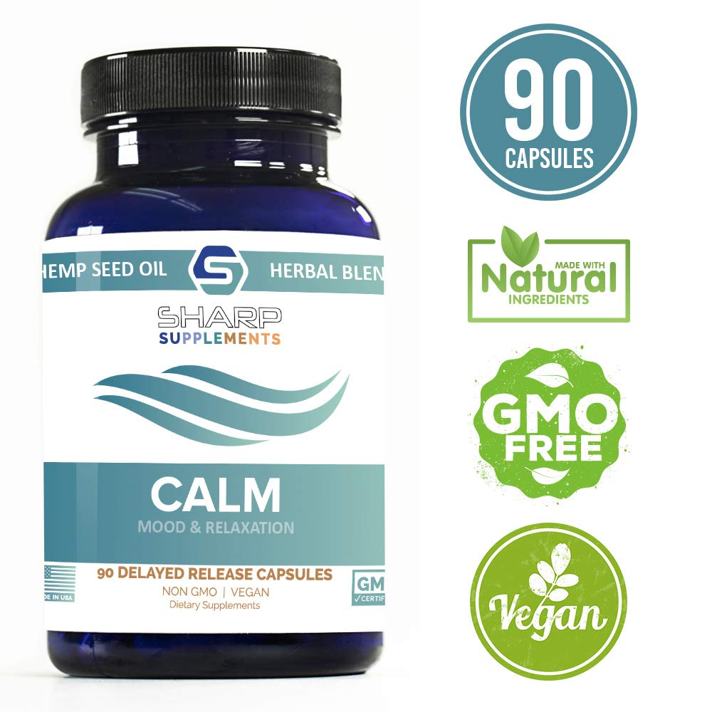 Calm by Sharp Supplements | Soothing Stress Support Supplement | Anxiety Relief | Stress Relief | Mood Enhancer | Relaxation Supplement | Hemp Seed Oil, Ashwagandha, Rhodiola Rosea, 5-HTP, Valerian