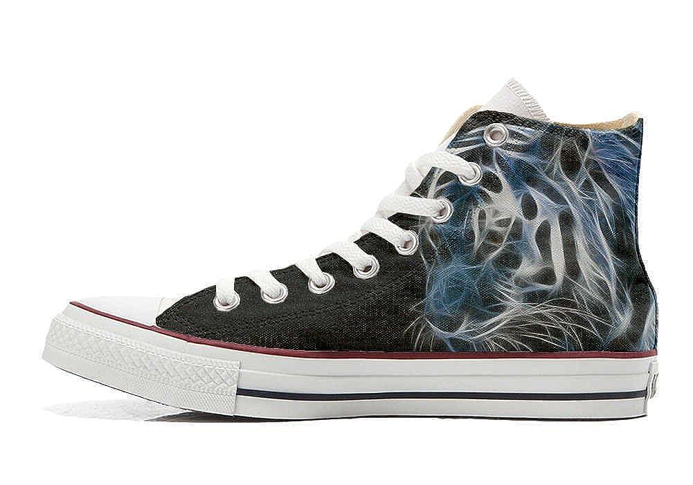Converse All Star personalisierte Schuhe Schuhe Schuhe - Handmade schuhe - mit Tigre Weiß sfumata nera eeeb80