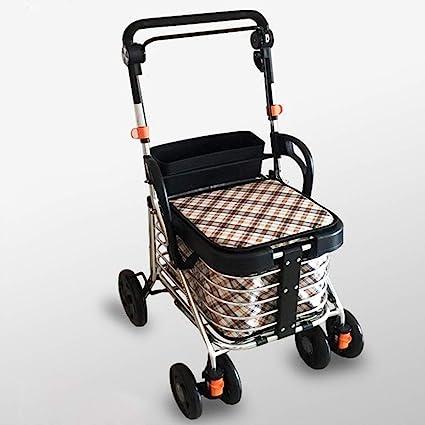 GTT Carro de Compras Ligero Andador portátil Andador de Cuatro Ruedas Carrito de Compras de Alimentos