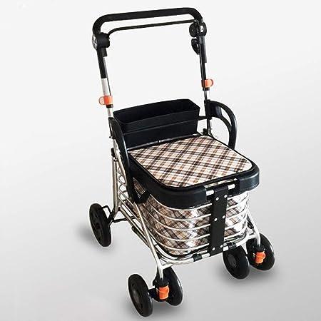 Carro de compras ligero andador portátil andador de cuatro ...