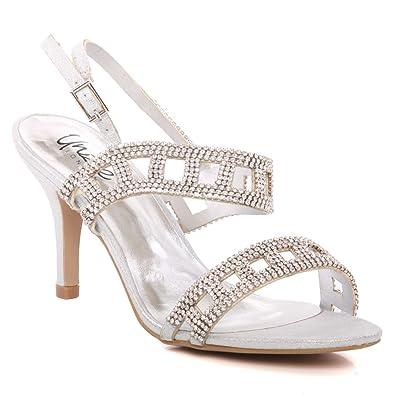 Ladies High Heel Party Open Toe Bridal Wedding Diamante Sandals Shoes Size 3-8