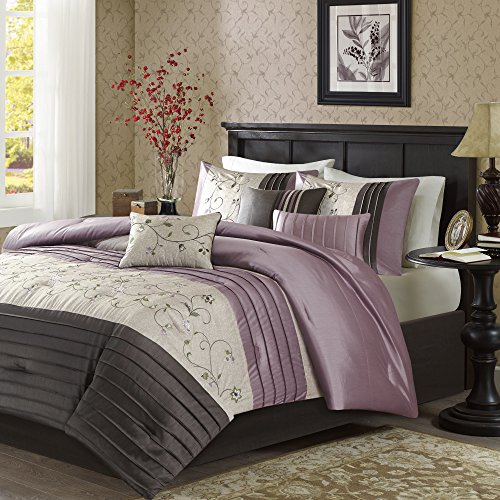 7 Piece Plum Purple Charcoal Grey Floral Embroidery Comforter King Set, Purple Adult Bedding Master Bedroom Modern Stylish Pintuck Leaf Swirl Pattern Elegant Classic Themed, (Swirl Embroidery)