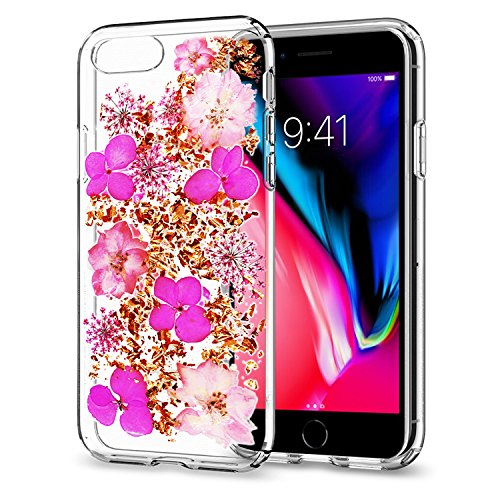 Re iPhone 7 Case iPhone 8 Case Beautiful Real Dried Flower and Leaf Full Edge PC Anti-Scratch Shockproof Clear Transparent Protective Back Case for iPhone 7/iPhone 8 (4.7 inch) (Pink)