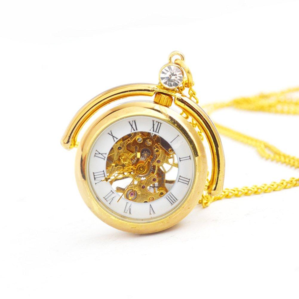 SW Watches Reloj De Bolsillo Mecánico De Bolsillo De La Bola De Cristal Esquelético Hueco del Reloj De Cadena (Sin La Cubierta),2Pack: Amazon.es: Hogar