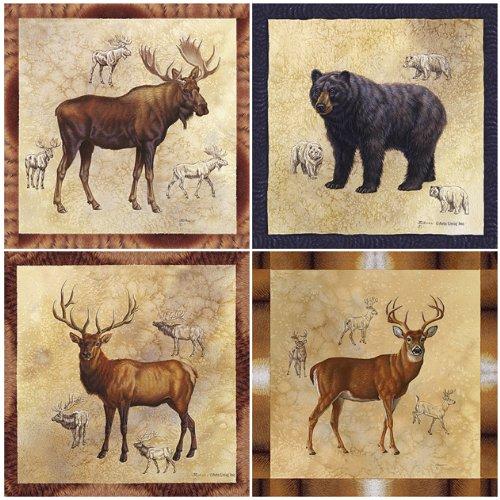 CoasterStone AS8660 Absorbent Coasters, 4-1/4-Inch, Rocky Mountain Moose Bear Elk Mule Deer, Set of 4 (Set Coaster Moose)