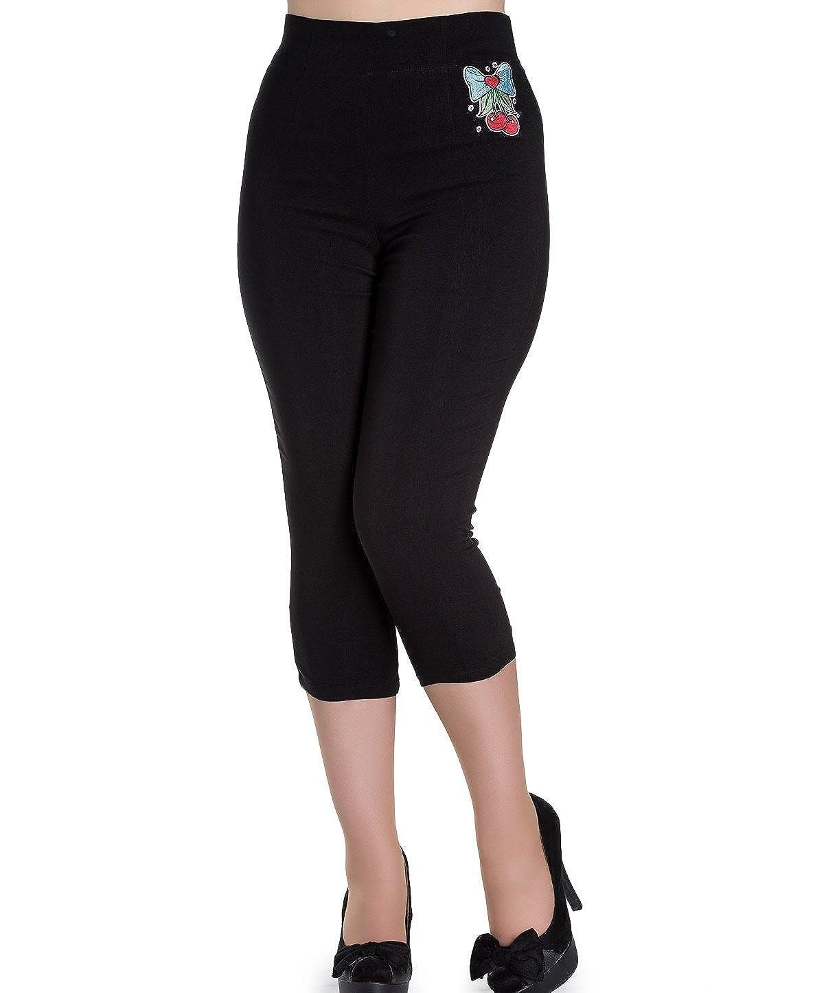 Hell Bunny 50s Black Pedal Pushers ANNA Capris Capri Trousers Cherry
