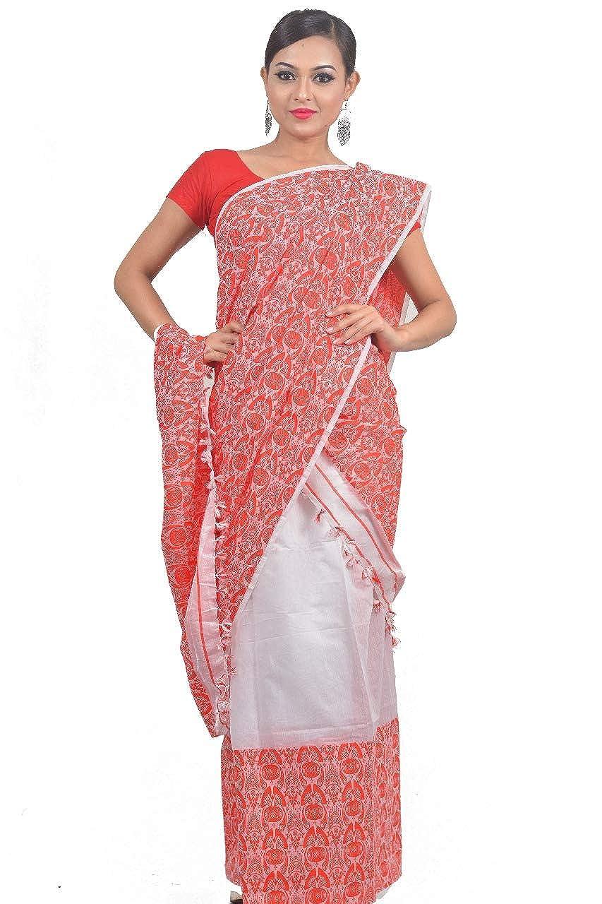 Mayuri Silk Palace - Assam Traditional Gamocha Design Mekhla Chadar (Off White and Red)