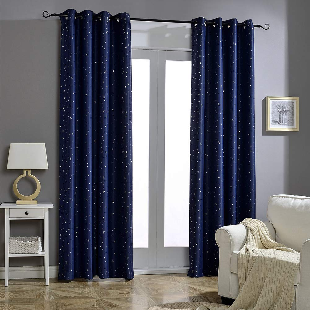 Amazon Com Jaoul Night Sky Twinkle Star Kids Blackout Curtains For