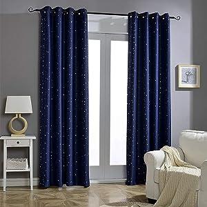 Jaoul Night Sky Twinkle Star Kids Blackout Curtains for Bedroom, Space Inspired Window Grommet Nursery Drape, 1 Panel, 52 x 84 Inch, Navy Blue