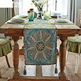Table Runners Linen jacquard table flag tea table cloth chinese style modern table runner-A 36x280cm(14x110inch)