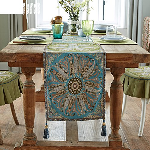 JINGJIE Restaurant dining table Decoration Table runner,Flax Jacquard Table runner Tea table Fabric chinese style Modern Table runner-A 36x240cm(14x94inch) by JINGJIE