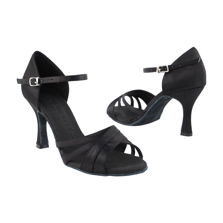 【楽天最安値に挑戦】 [Very Fine ブラックサテン Dance Shoes] 2.5