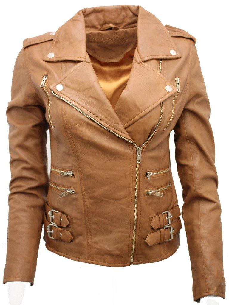 Ladies Tan Real 100% Lamb Nappa Leather Biker Jacket 12