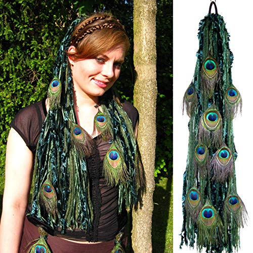 Yarn Falls with Peacock Feathers EMERALD FAIRY yarn extensions Tribal Fusion belly dance hair piece Woodland Elf costume hair Forest Witch fantasy yarn fall Fantasy Larp costume accessory