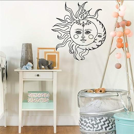 Ajcwhml Etiqueta de la Pared Sol y Luna símbolo Nacional Media ...