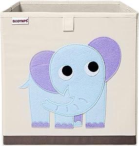 DODYMPS Foldable Animal Toy Storage Bins/Cube/Box/Chest/Organizer for Kids & Nursery, 13 inch (Elephant)