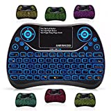 ANEWKODI 2.4GHz Wireless Mini Keyboard Backlit with Touchpad Mouse Combo, USB Rechargeable Multimedia Game Keyboard Remote Control Keyboard for Smart TV, Android TV Box, PC, HTPC, Tablet, PS4