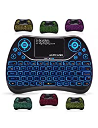 (actualizado 2018, 7 colores RGB) 2,4 GHz inalámbrico Mini teclado retroiluminado con Touchpad Mouse Combo,ANEWKODI USB recargable Multimedia Game Teclado para PC, HTPC, tableta, Smart TV, proyector, Android TV Box