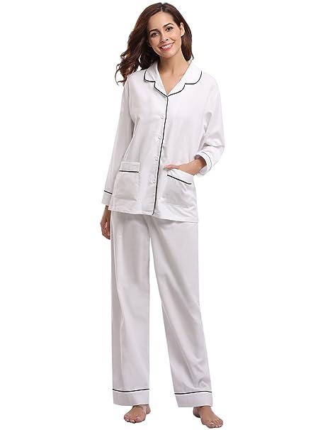 Aibrou Pijamas Mujer Otoño Invierno Algodon del 100% Set Calentito Ropa de Dormir Sexy Mujer