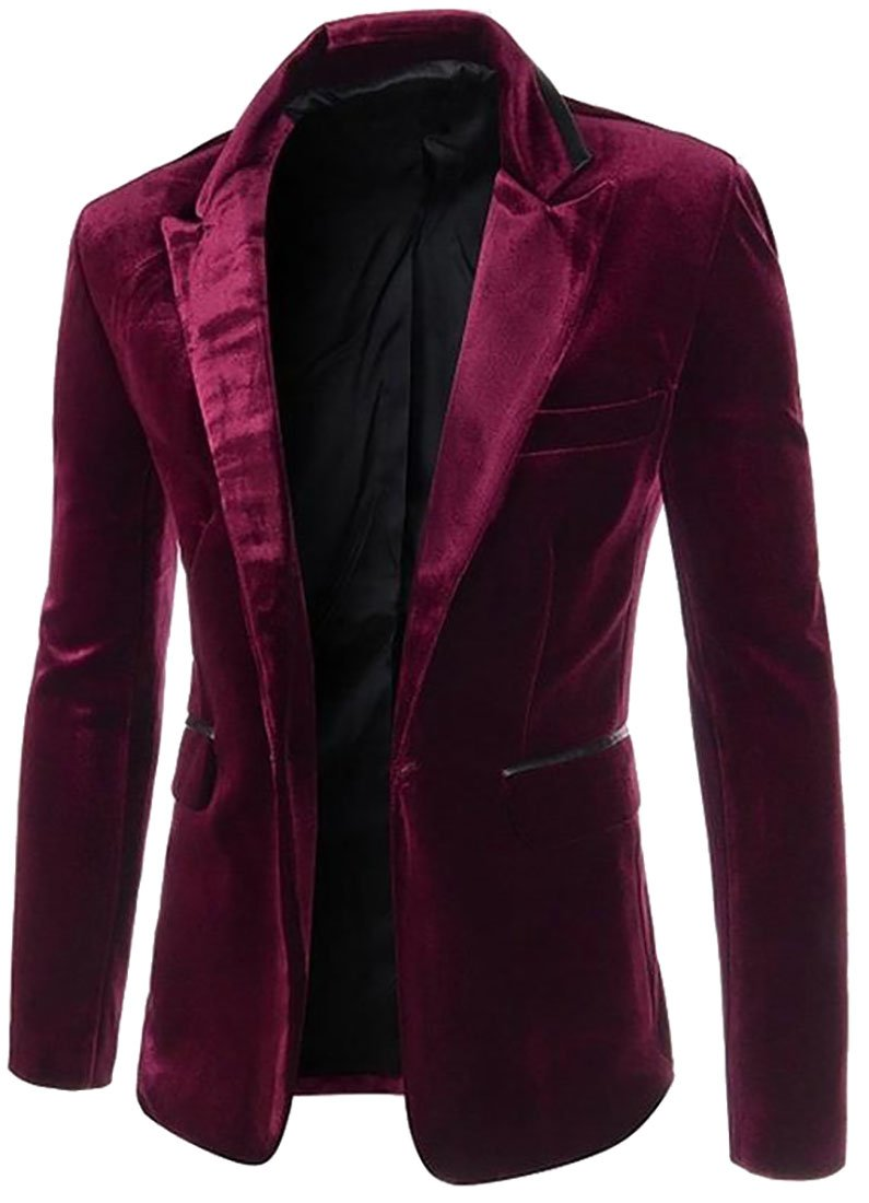 ARRIVE GUIDE Men's Slim Fit Peaked Lapel One Button Velvet Blazer Jacket Claret M