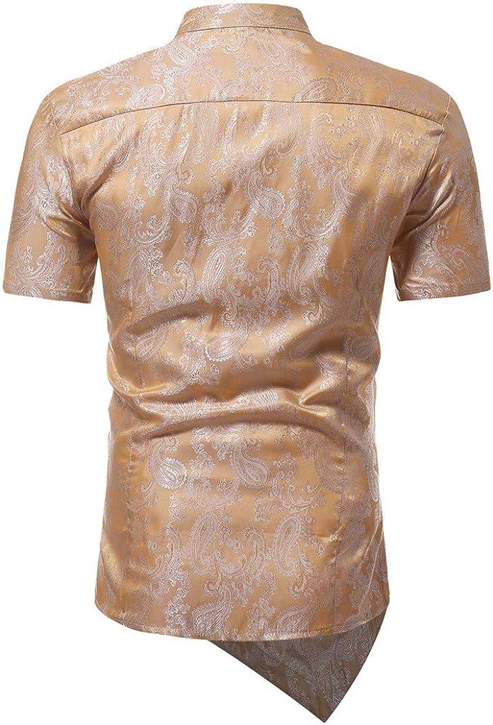 RETUROM Hombre Moda Camisas de Manga Corto Slim Tops Blusa Camiseta Slim fit Business Casual Camisas de Vestir Formales: Amazon.es: Ropa y accesorios