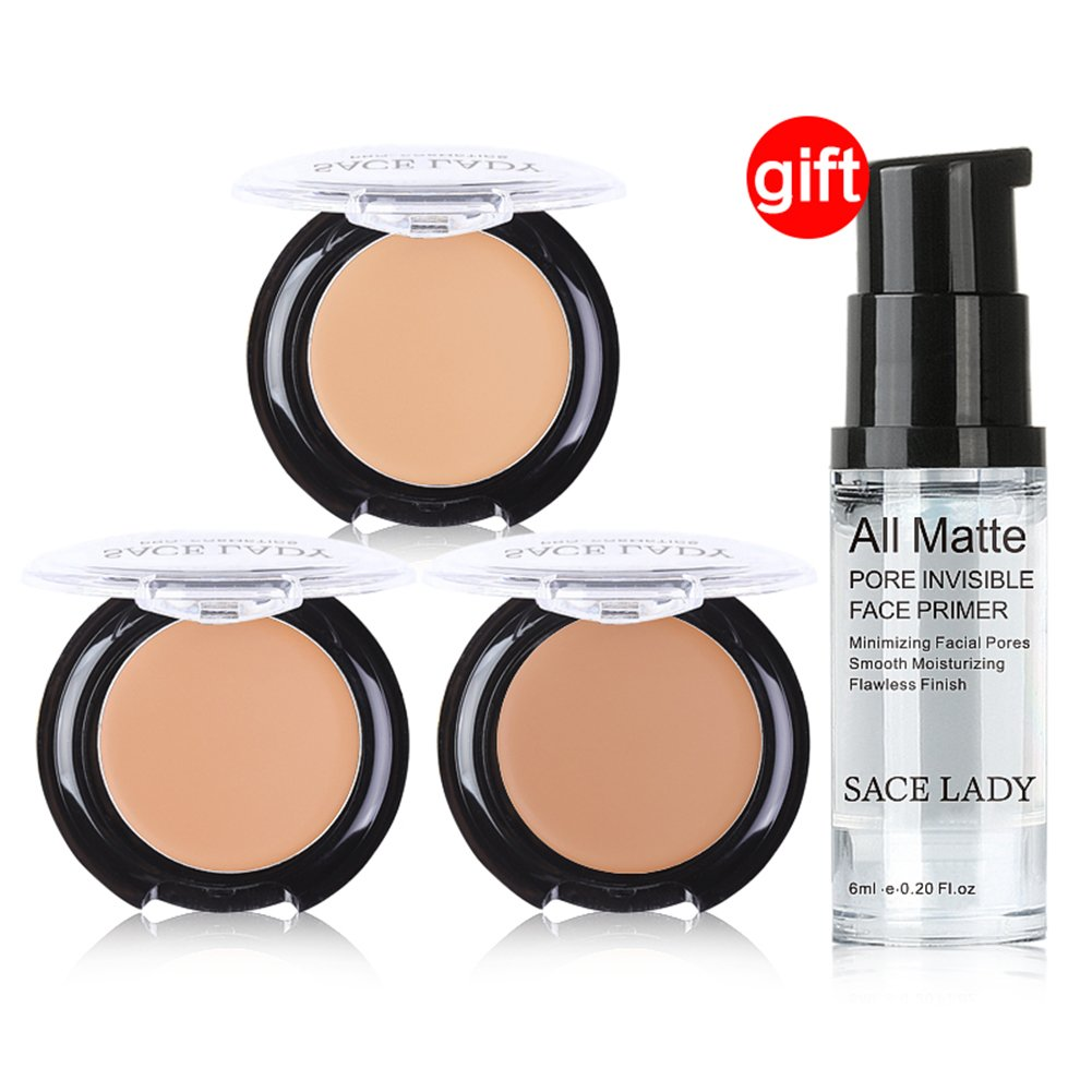 Buy 3 Get 1 Gift SACE LADY Full Coverage Concealer Cream Waterproof Cream Compact Concealer Foundation Makeup Set, Pore Minimizer Smooth Face Foundation Primer Makeup Base Gel (A40 Natural)