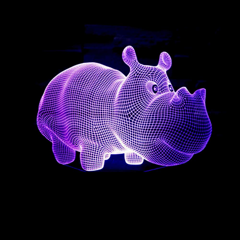 Optical Illusion Lamp Rhino 3D Colour Changing Mood 7 Colours Touch Button Control USB Powered