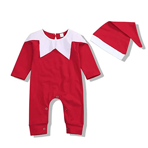 24650531f98 2 Pcs Newborn Baby Boy Girls Romper Long Sleeves Red Christmas Bodysuit  with Cute Matching Santa