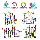 Meland Marble Run Toy Marble Game STEM Learning Toy, Educational Construction Building Blocks Toy, Marble Set Gift for Kids 4 5 6 + Year Old Boys Girls (122 PCS + 5 Glass Marbles)