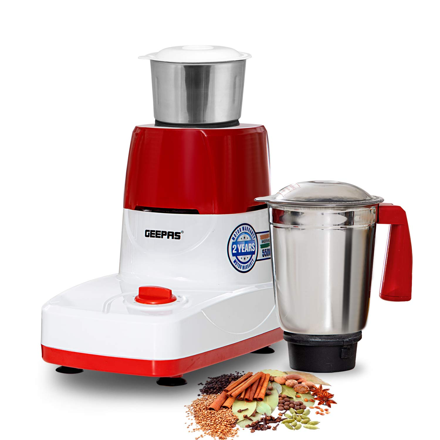 Geepas 550W 2-in-1 Dry & Wet Indian Mixer Grinder – Heavy Duty Electric Grinder with Stainless Steel Jars & Blades – Perfect for Fine Grinding Mixing Chopping – 2 Years Warranty