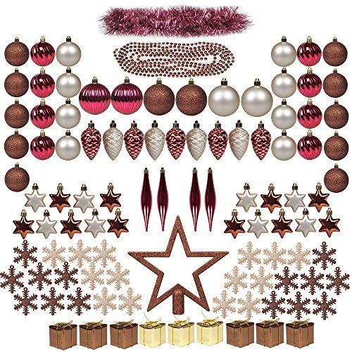 ITART 100ct Christmas Tree Ornaments Assortment Kits including Tree Topper,Christmas Balls,Snowflakes,Pine Cones, Miniature Gift Boxes,Tinsel,Beads Garlands for Xmas Decorations Red Brown&Champagne (Outdoor Tree Ornaments Balls)