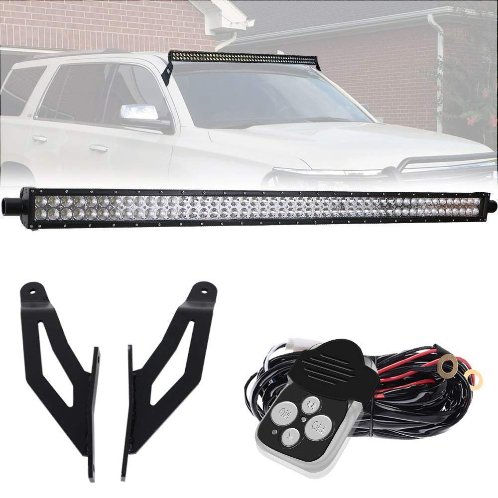 TURBOSII Pair Rustproof Upper Roof Windshield Mount Mounting Brackets For 50' Inch 288W Straight LED Light Bar Offroad Work Lights Fit 2004-2014 Nissan Titan 4WD/2WD