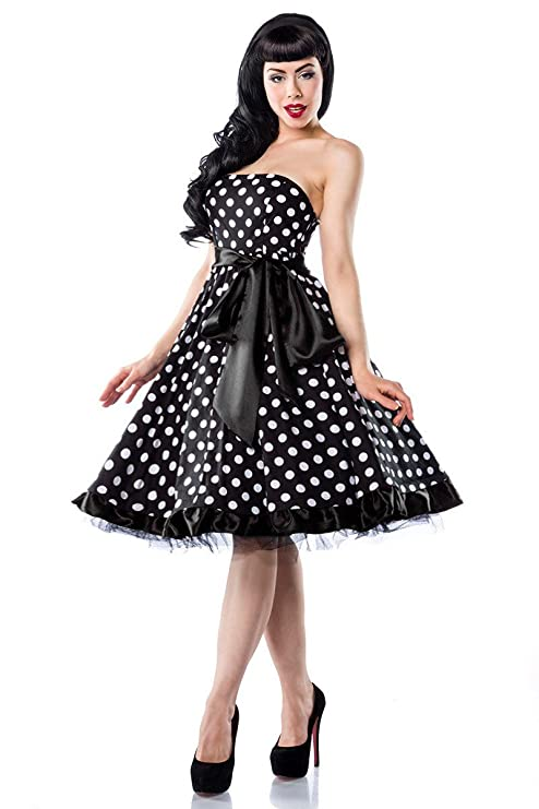Rockabilly Vestido blanco/negro 12655SW - otros, Negro/Blanco, XL