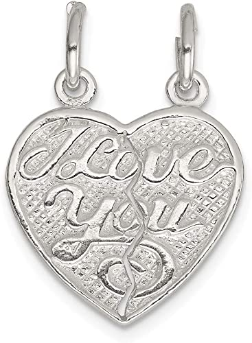Sterling Silver Polished Heart Solid Charm Pendant Holder