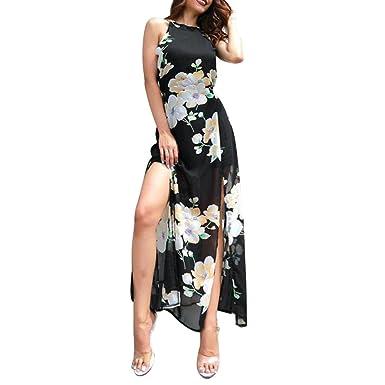 FEITONG Womens Print Backless Long Maxi Dress Sleeveless Summer Beach Sundress(X-Large,