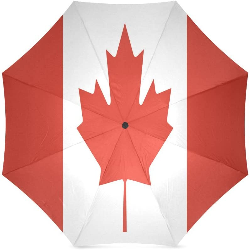 Canada Flag Maple Leaf Compact Foldable Rainproof Windproof Travel Umbrella