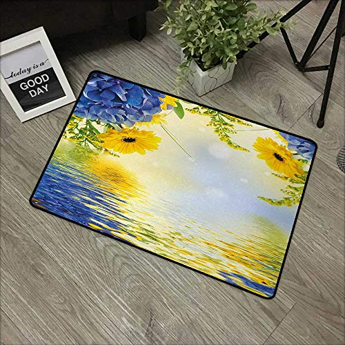 "Moses Whitehead Carpets Indoor/Outdoor Area Rugs Yellow and Blue,Romantic Bouquet of Hydrangeas and Asters on Water Background,Violet Blue Earth Yellow,with Non Slip Backing,30""x39"""