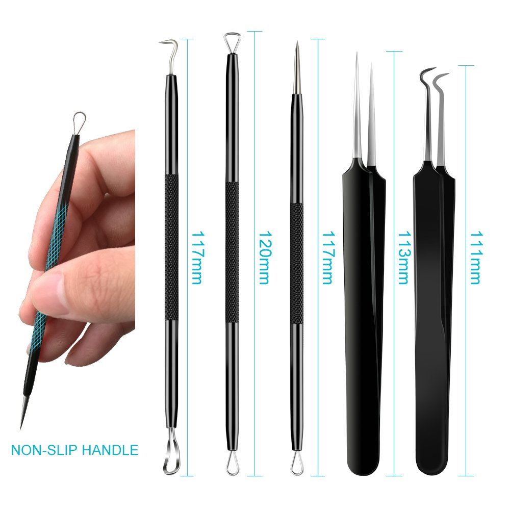 Blackhead Remover Tool,Sedremm 5 in 1 Acne Pimple Extractor Stainless Steel Tweezer Kit with Mirror and 10 PCS Alcohol Cotton Pads Treatment for Zit Comedone Whiteheads Blemish Removal