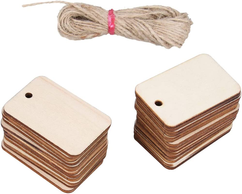 50x Wooden Pieces Hanging Gift Tags With Rope For Wedding Decor DIY Crafts