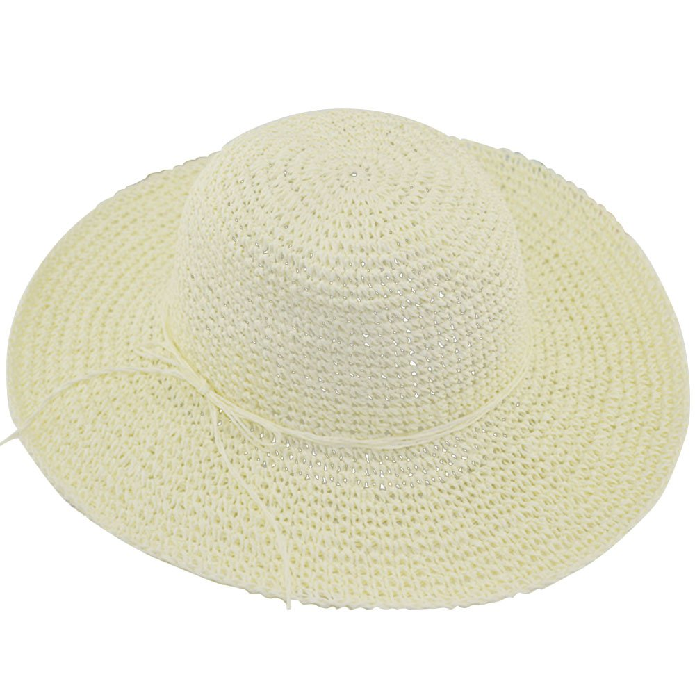 Women Ladies Foldable Straw Sun Visor Wide Large Brim Floppy Hat Beach Travel Straw Hat Cap Coffee Gosear